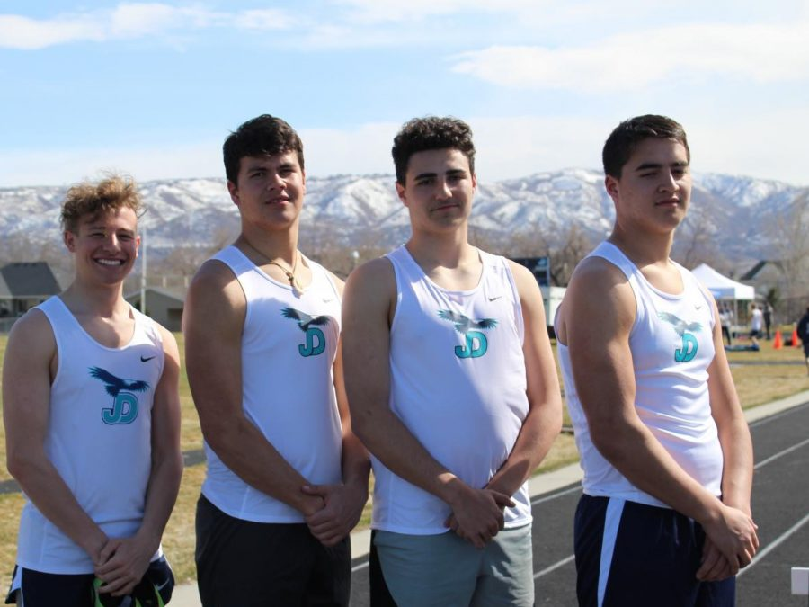 Juan Diego track and field athletes, Noah Reninger, Kaiser Mataele, Colby Smith, and Kekoa Mataele