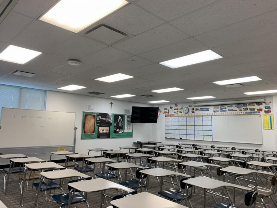 Approximately+half+of+the+student+desks+in+Mr.+Christiansen%27s+empty+classroom