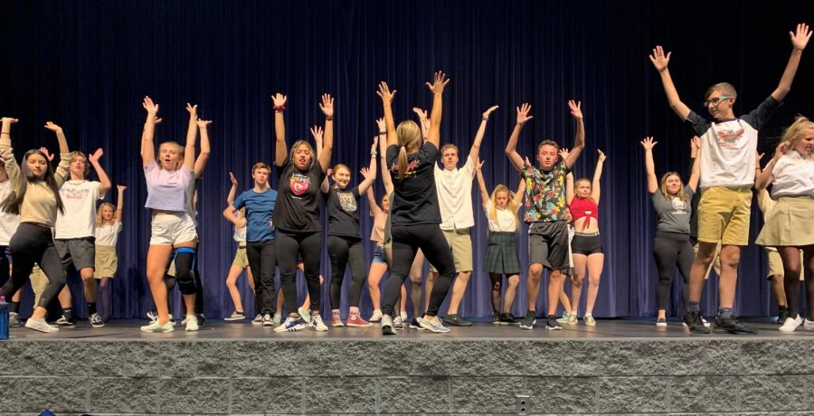 The crew brushes up on their dance moves with Shelti (back turned). The kids are working hard ahead of the opening of Footloose later this fall.