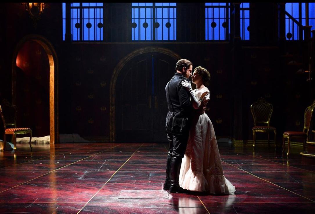 Hamlet (Quinn Mattfeld) and Ophelia (Emma Geer) on set the of Hamlet at Utah Shakespeare Festival. (All photos by Karl Hugh. Copyright Utah Shakespeare Festival 2019.)