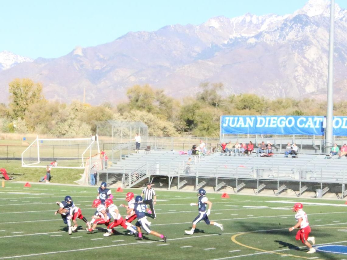 Jayden Madry returns a punt from Delta in the first half.