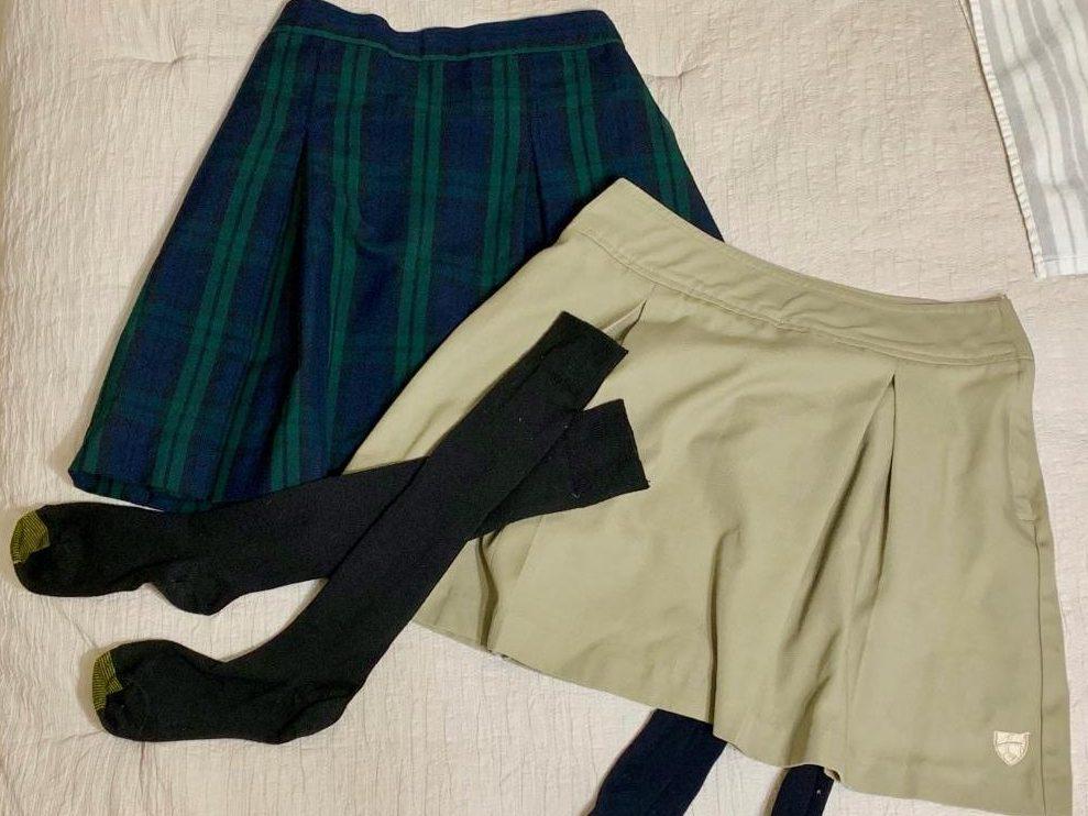 The skirt and skort, standard pieces of Juan Diego's standard girl's uniform.