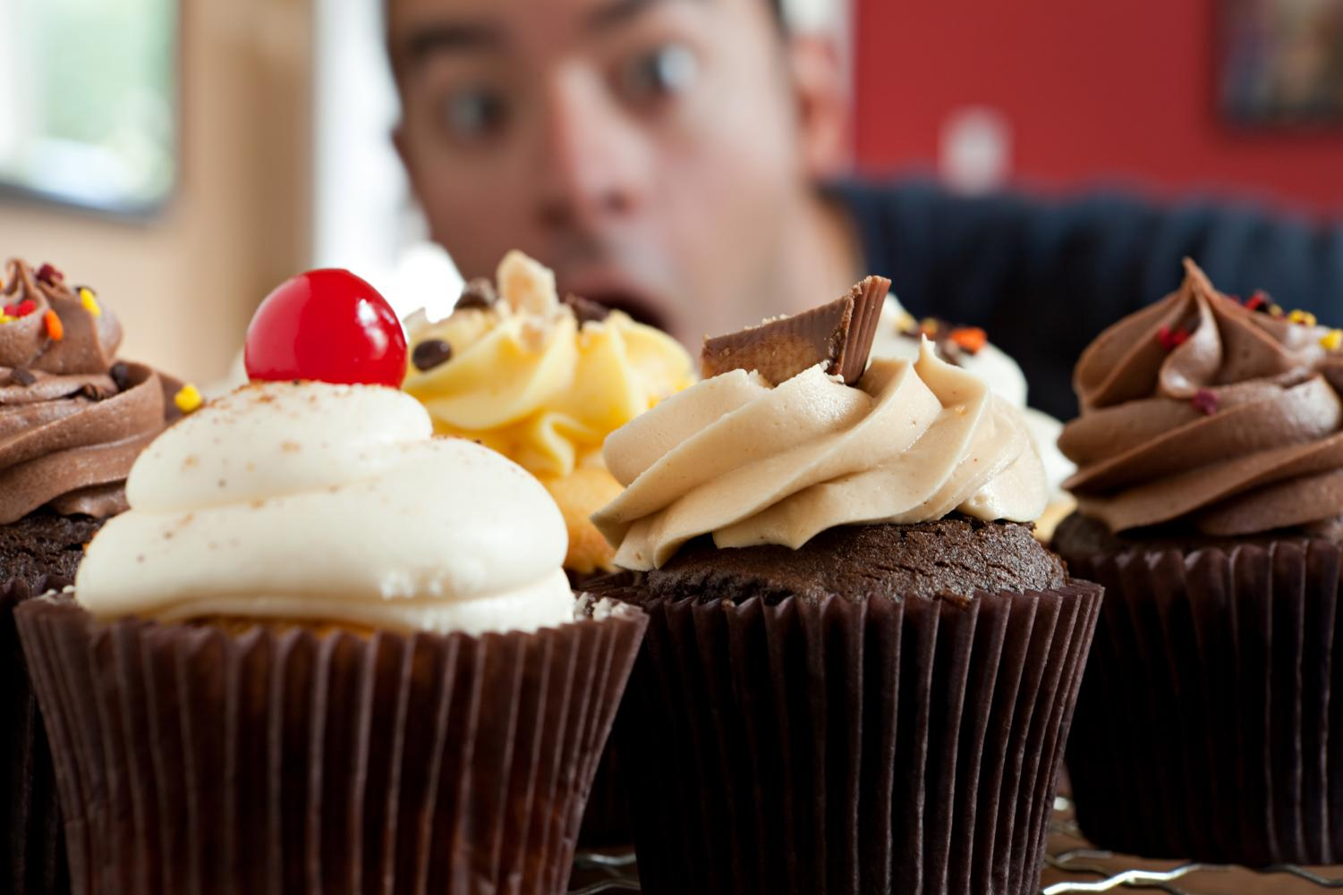 Close up of frosted chocolate cupcakes