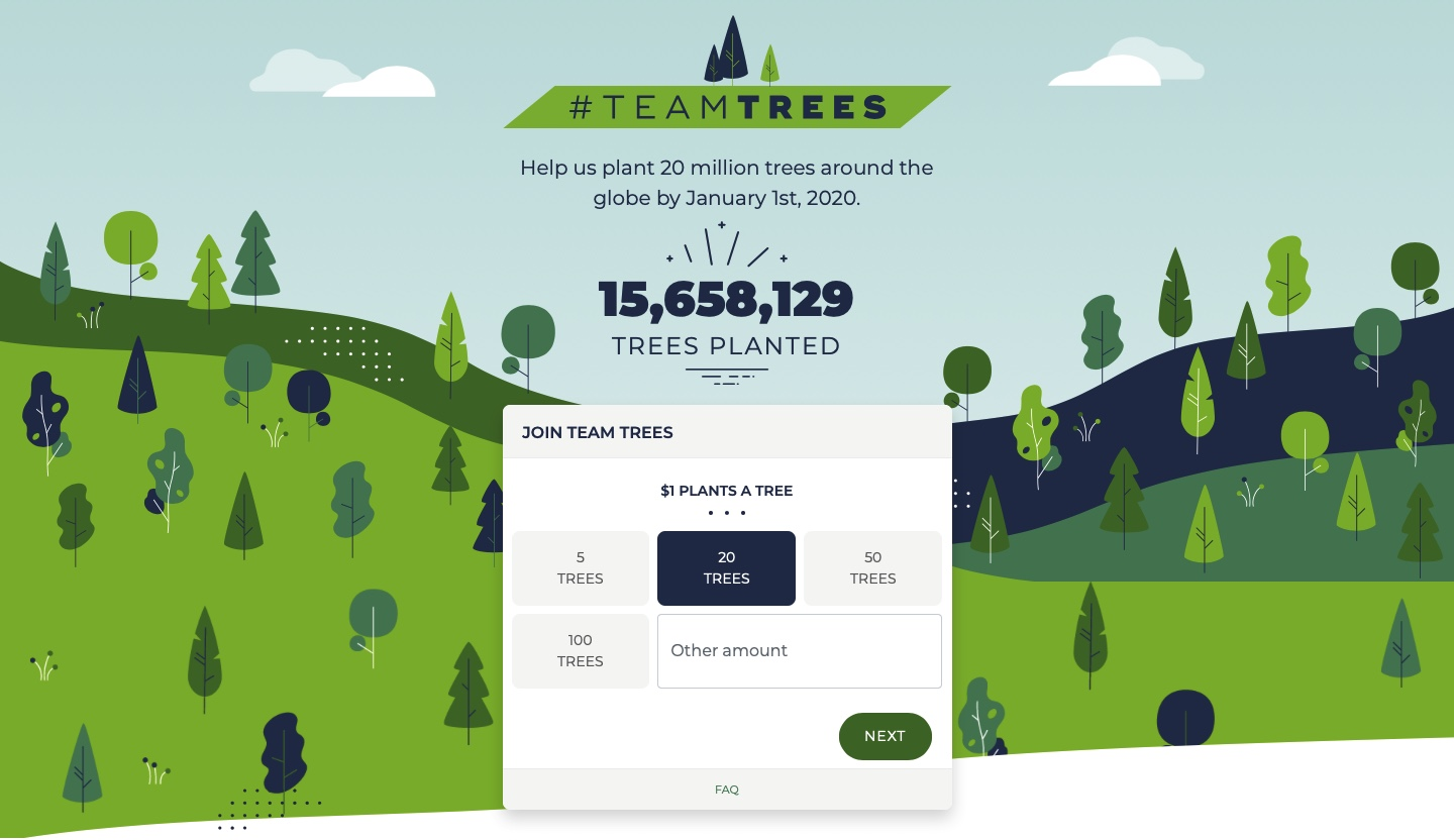 Screenshot of the #teamtrees donation website.
