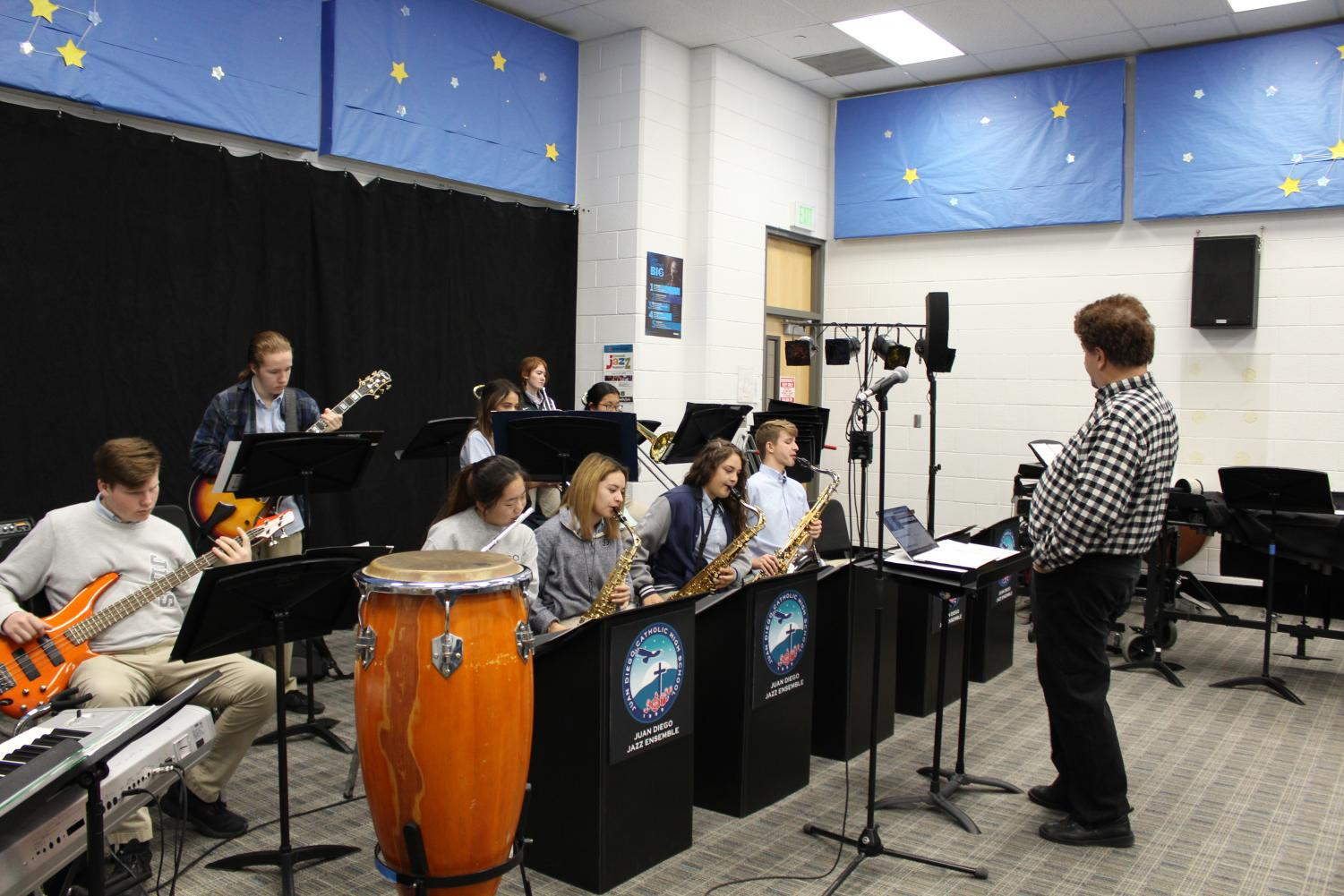 JD's Jazz Band practicing before school. They practice at 7 AM on B and D days.