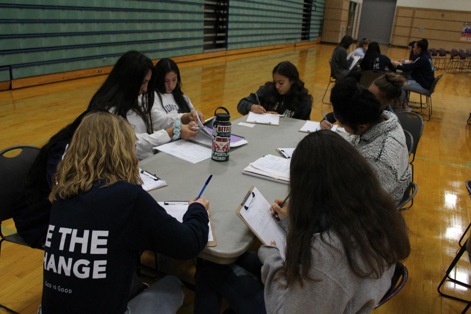 Sophomores at their Day of Reflection, answering questions about belonging.