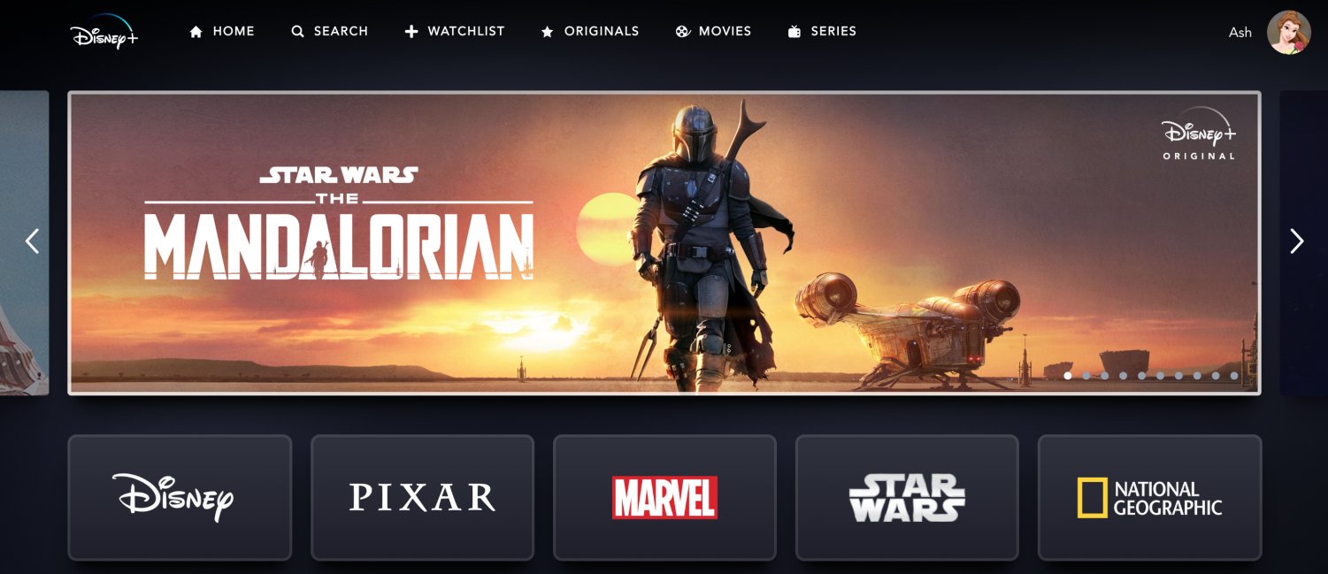 This is a picture of the homepage of Disney+. It shows the black look and all the categories.