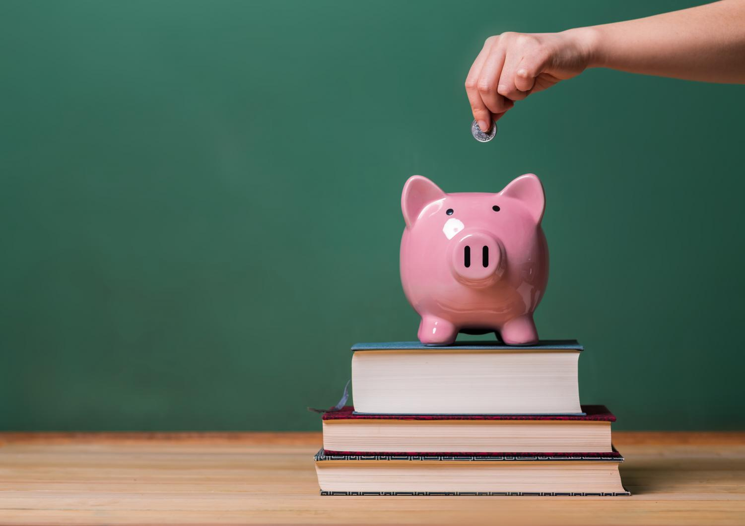 A piggybank on top of a pile of books represents the overall concept of the article.