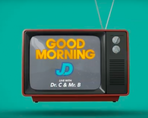 The logo for Good Morning JD, which starts off every video.
