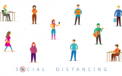 An illustration of people living their normal lives while still social distancing