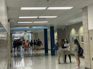 Juan Diego students walk to their next class during passing period.