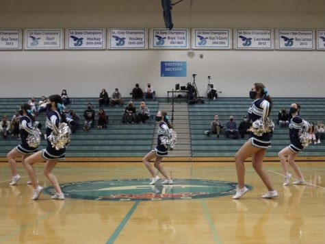 The cheer team performing their halftime performance at the Ogden basketball game.