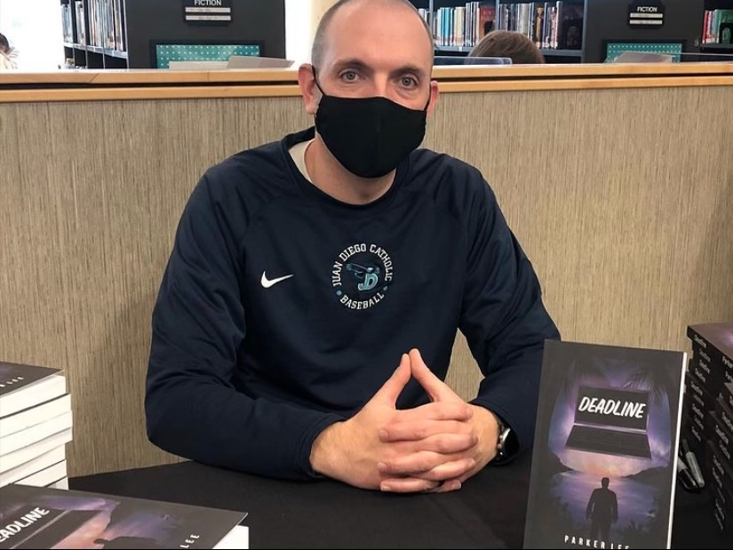 Parker Lee at his very first book signing held at JDCHS/SJBMS library
