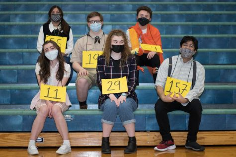The Spellers of Spelling Bee: left to right: front row - Katelyn Woods as Olive Ostrovsky, Olivia Thomas as Logainne Schwartzandgrubenierre, David Kale as William Barfee, back row - Paola Severo as Marcy Park, Riley Mulcahy as Chip Tolentino, Jackson Shemwell as Leaf Coneybear