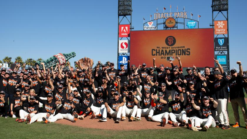 The Entire Giants Team Groups Together for a Team Photo After Winning the Division.